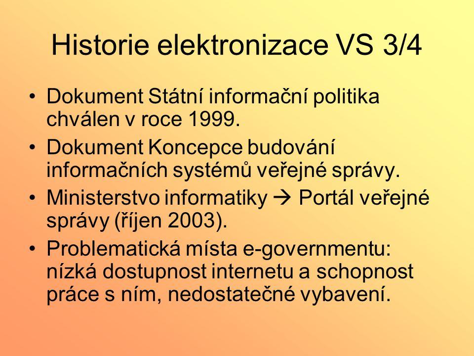 Historie elektronizace VS 3/4 Dokument Státní informační politika chválen v roce 1999. Dokument Koncepce budování informačních systémů veřejné správy.