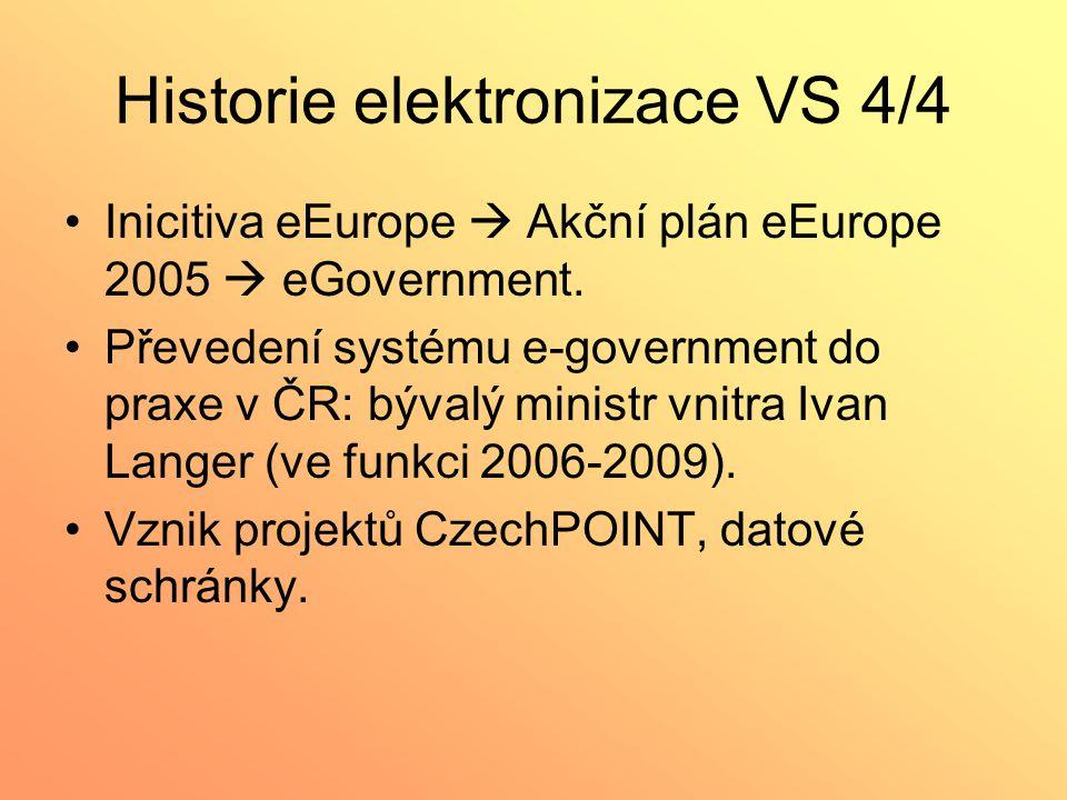 Historie elektronizace VS 4/4 Inicitiva eEurope  Akční plán eEurope 2005  eGovernment. Převedení systému e-government do praxe v ČR: bývalý ministr