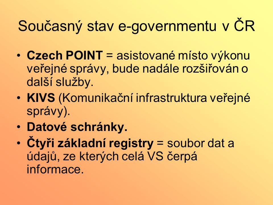 Současný stav e-governmentu v ČR Czech POINT = asistované místo výkonu veřejné správy, bude nadále rozšiřován o další služby. KIVS (Komunikační infras