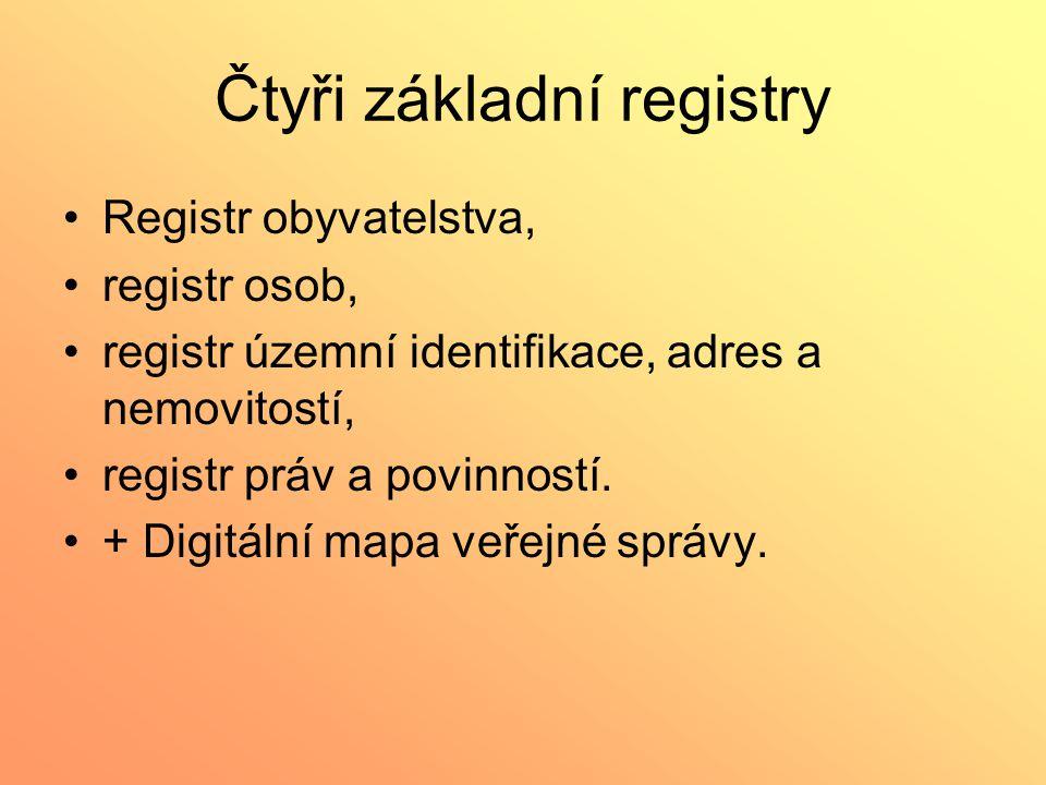 Čtyři základní registry Registr obyvatelstva, registr osob, registr územní identifikace, adres a nemovitostí, registr práv a povinností. + Digitální m