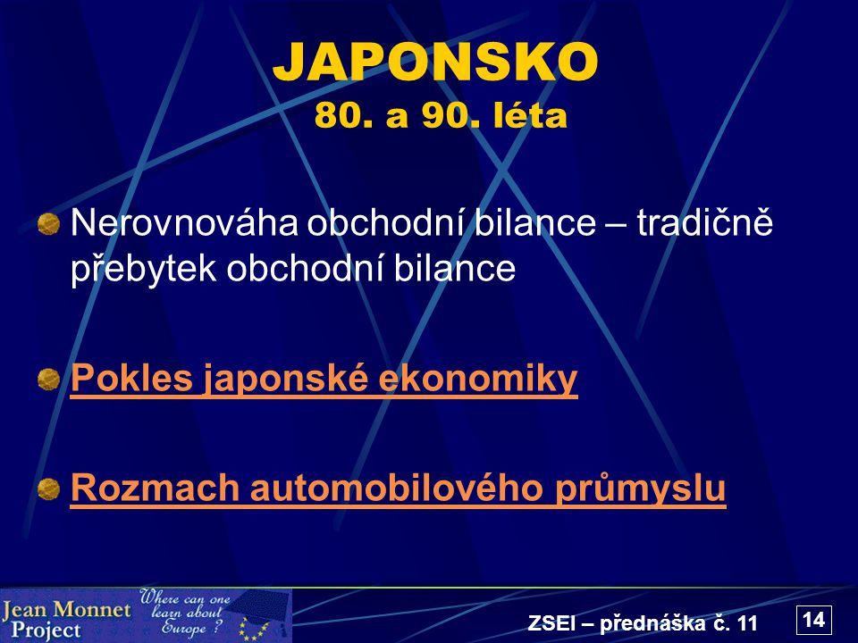 ZSEI – přednáška č. 11 14 JAPONSKO 80. a 90. léta Nerovnováha obchodní bilance – tradičně přebytek obchodní bilance Pokles japonské ekonomiky Rozmach