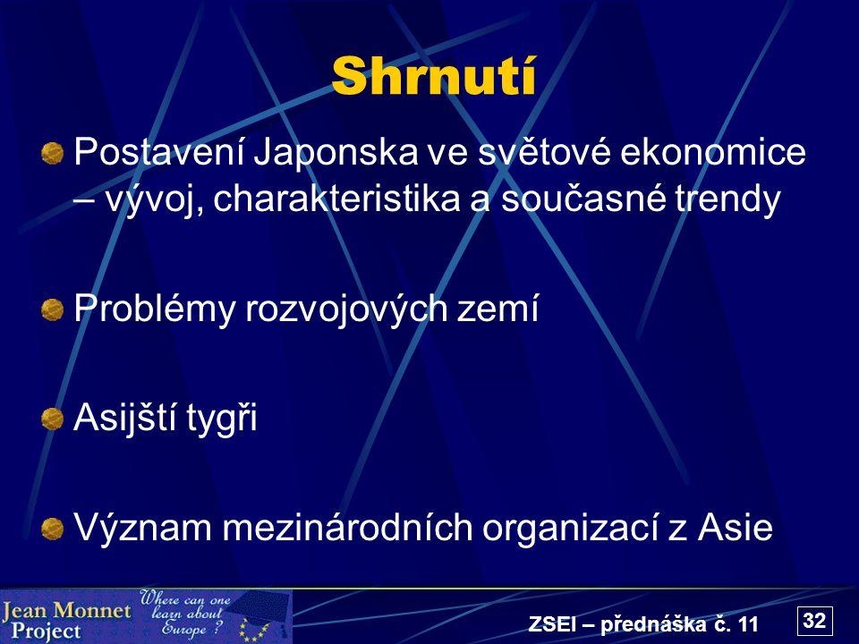 ZSEI – přednáška č. 11 32 Shrnutí Postavení Japonska ve světové ekonomice – vývoj, charakteristika a současné trendy Problémy rozvojových zemí Asijští