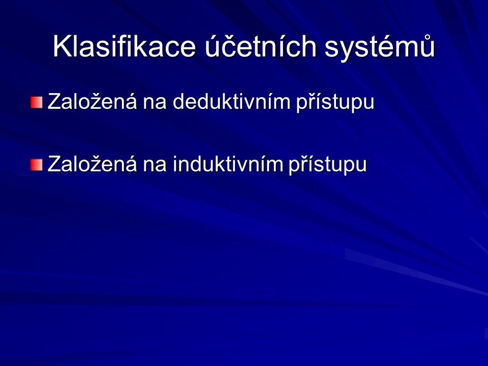 Klasifikace účetních systémů Založená na deduktivním přístupu Založená na induktivním přístupu