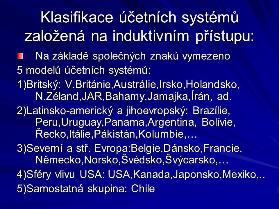 Klasifikace účetních systémů založená na induktivním přístupu: Na základě společných znaků vymezeno 5 modelů účetních systémů: 1)Britský: V.Británie,Austrálie,Irsko,Holandsko, N.Zéland,JAR,Bahamy,Jamajka,Írán, ad.
