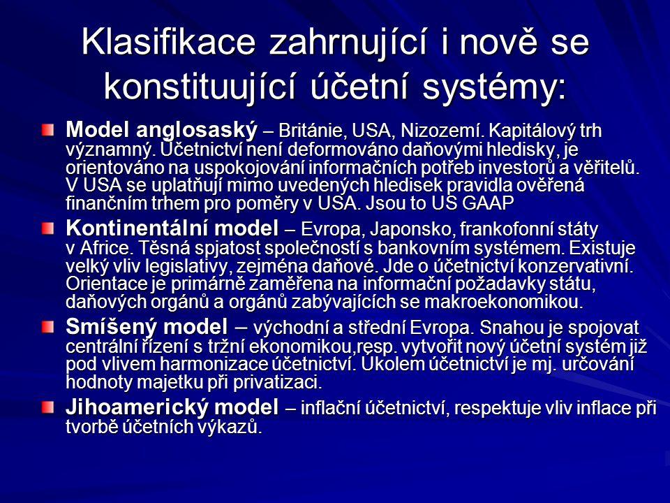 Klasifikace zahrnující i nově se konstituující účetní systémy: Model anglosaský – Británie, USA, Nizozemí. Kapitálový trh významný. Účetnictví není de