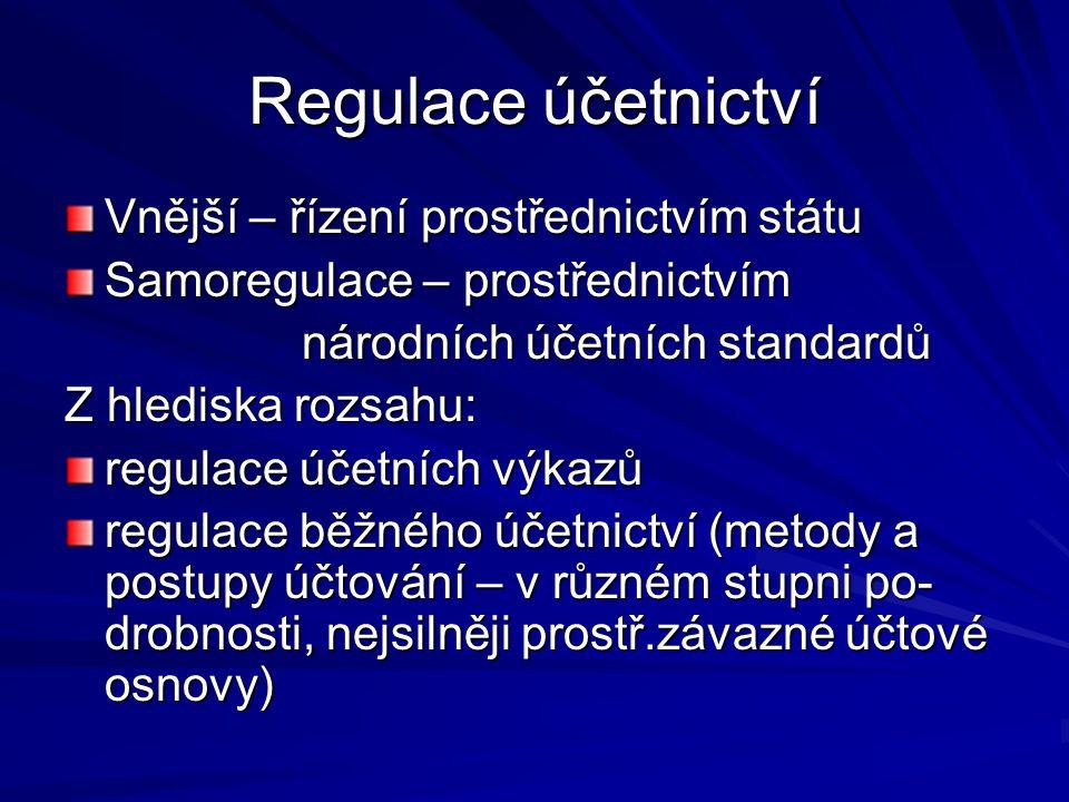 Regulace účetnictví Vnější – řízení prostřednictvím státu Samoregulace – prostřednictvím národních účetních standardů národních účetních standardů Z hlediska rozsahu: regulace účetních výkazů regulace běžného účetnictví (metody a postupy účtování – v různém stupni po- drobnosti, nejsilněji prostř.závazné účtové osnovy)