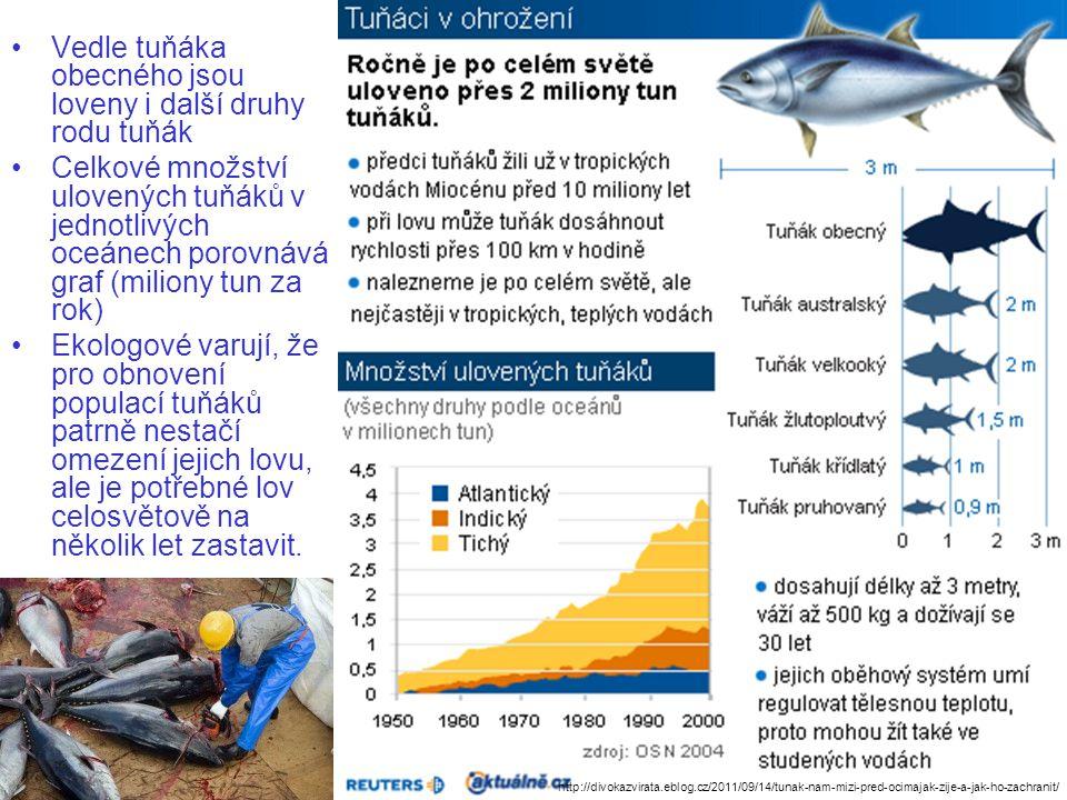 Vedle tuňáka obecného jsou loveny i další druhy rodu tuňák Celkové množství ulovených tuňáků v jednotlivých oceánech porovnává graf (miliony tun za rok) Ekologové varují, že pro obnovení populací tuňáků patrně nestačí omezení jejich lovu, ale je potřebné lov celosvětově na několik let zastavit.