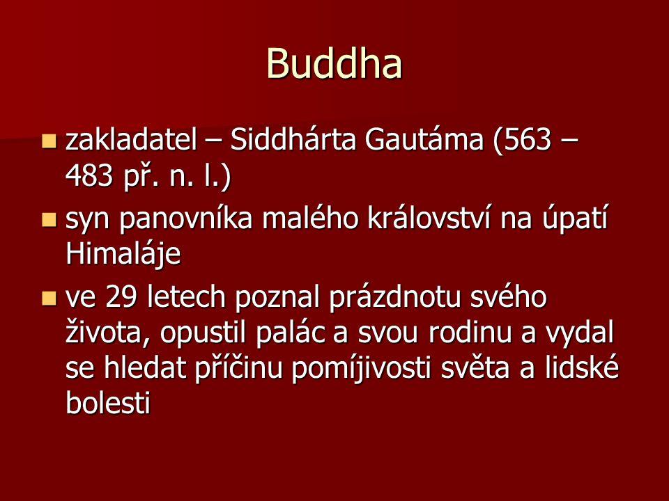 10 let putoval po Indii a po marném hledání se rozhodl raději zemřít 10 let putoval po Indii a po marném hledání se rozhodl raději zemřít po dlouhém půstu však dosáhl prozření ►stal se z něj Buddha – ten, který procitnul po dlouhém půstu však dosáhl prozření ►stal se z něj Buddha – ten, který procitnul vrátil se k normálnímu životu a šířil svou nauku ostatním vrátil se k normálnímu životu a šířil svou nauku ostatním