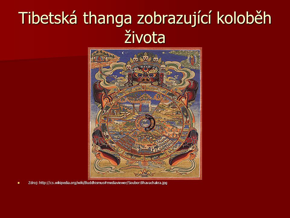 Tibetská thanga zobrazující koloběh života Zdroj: http://cs.wikipedia.org/wiki/Buddhismus#mediaviewer/Soubor:Bhavachakra.jpg Zdroj: http://cs.wikipedia.org/wiki/Buddhismus#mediaviewer/Soubor:Bhavachakra.jpg
