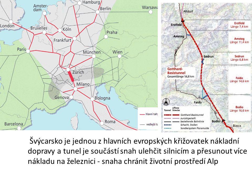 Švýcarsko je jednou z hlavních evropských křižovatek nákladní dopravy a tunel je součástí snah ulehčit silnicím a přesunout více nákladu na železnici