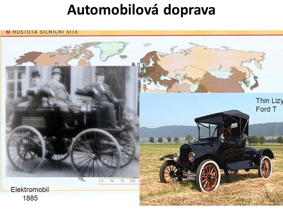 Automobilová doprava Počátek – spalovací x elektrický motor (1900 více elektromobilů!), Ford – 1. pásová výroba! = zlevnění Rychlý nástup po 1.sv. vál