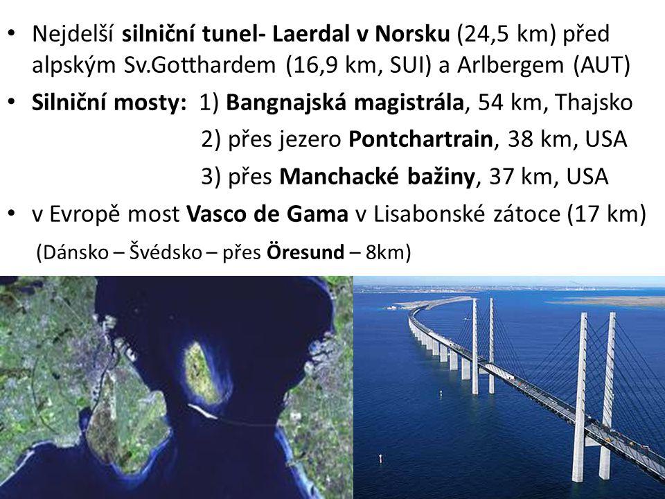 Nejdelší silniční tunel- Laerdal v Norsku (24,5 km) před alpským Sv.Gotthardem (16,9 km, SUI) a Arlbergem (AUT) Silniční mosty: 1) Bangnajská magistrá