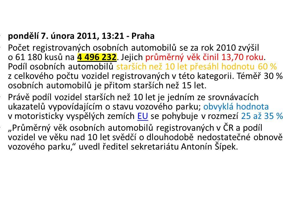 pondělí 7. února 2011, 13:21 - Praha Počet registrovaných osobních automobilů se za rok 2010 zvýšil o 61 180 kusů na 4 496 232. Jejich průměrný věk či