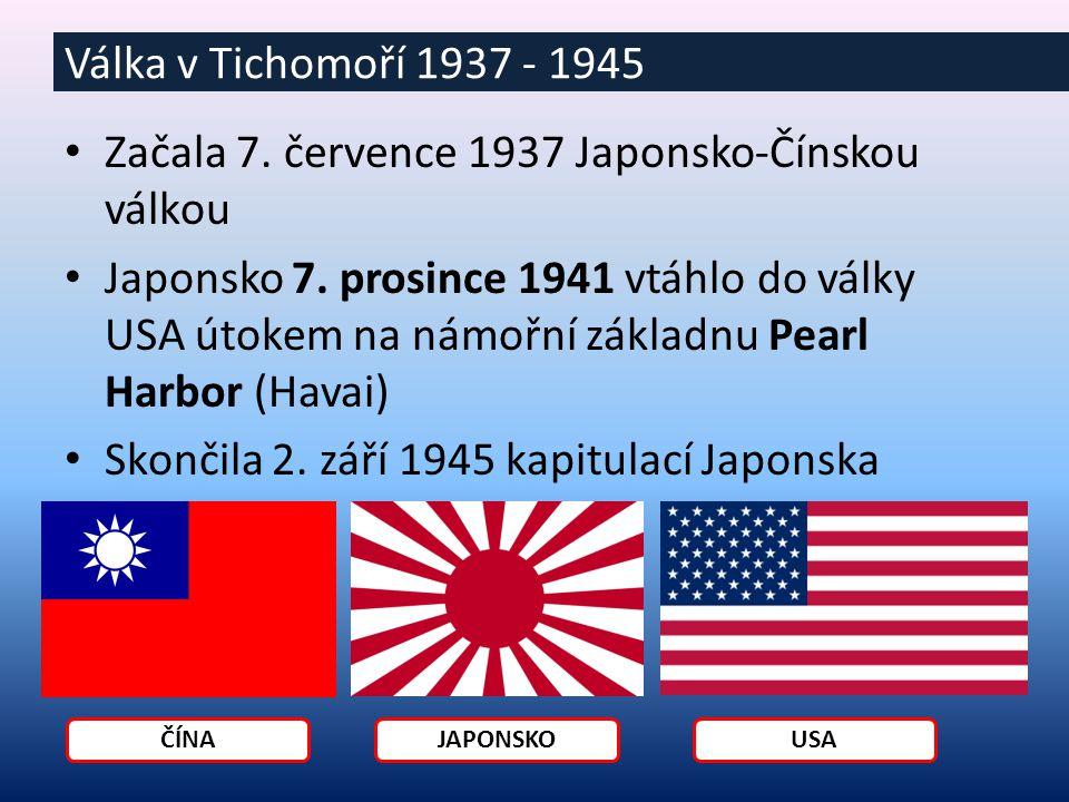 Japonský útok na Čínu Japonsko se chtělo stát Asijskou velmocí Potřebovalo zdroje nerostných surovin Japonci se považovali za nadřazenou rasu ostatním Politiku a život Japonců ovládali vojenští generálové = propaganda Válka v Tichomoří 1937 - 1945