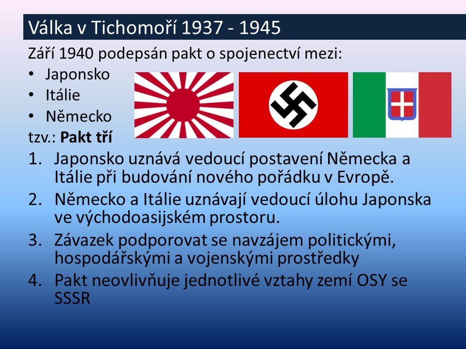 Září 1940 podepsán pakt o spojenectví mezi: Japonsko Itálie Německo tzv.: Pakt tří 1.Japonsko uznává vedoucí postavení Německa a Itálie při budování nového pořádku v Evropě.