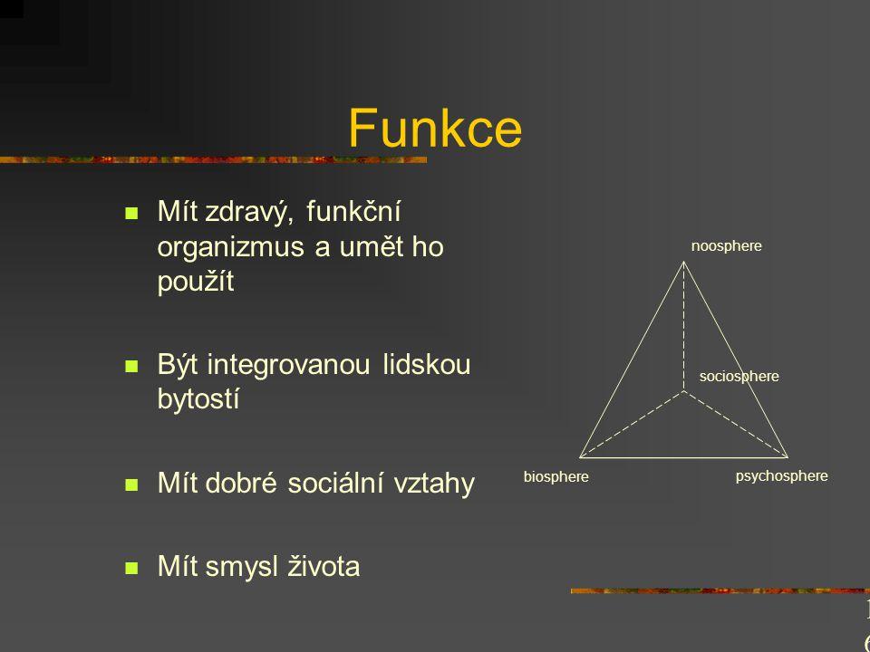 Čtyřdimenzionální rozvoj (funkce) Biosféra Tělesný trénink a jeho složky Psychosféra Psychické procesy a stavy, psychomotorika Sociosféra Společenské normy Noosféra (V.