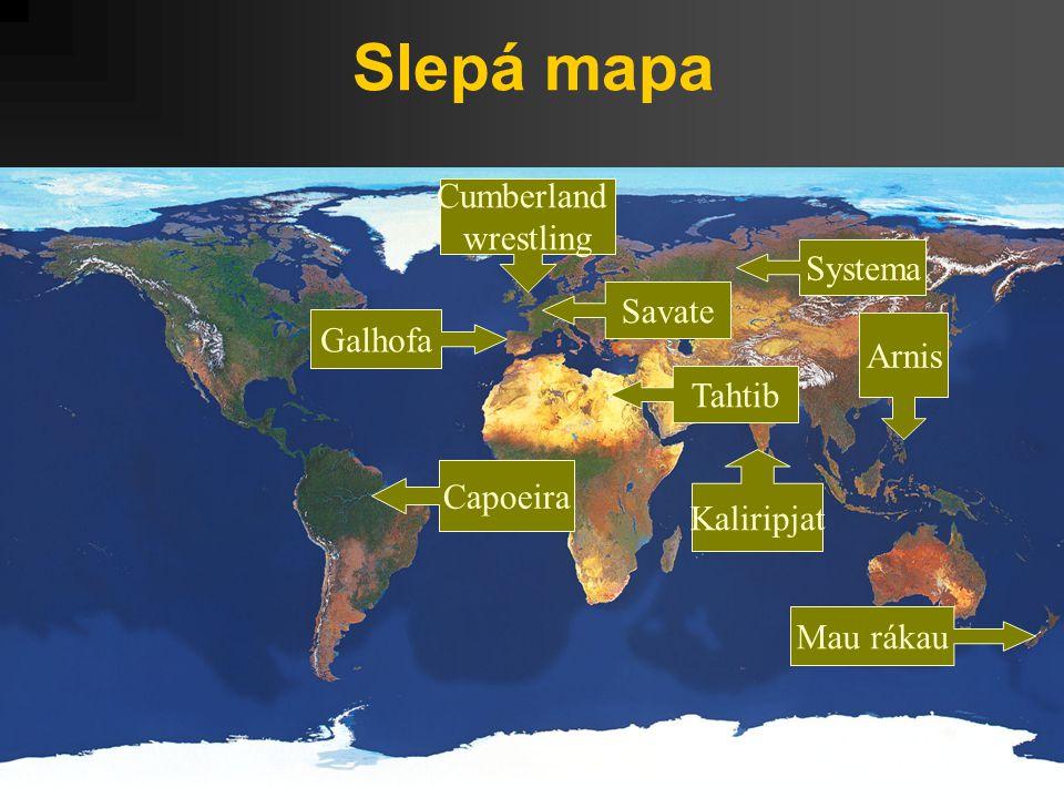 Systematika bojových umění Podle místa vzniku (geografické dělení) Asie Japonsko Čína Korea Indie Evropa Francie Německo Portugalsko Amerika Spojené státy Brazílie Afrika Egypt Austrálie, Oceánie