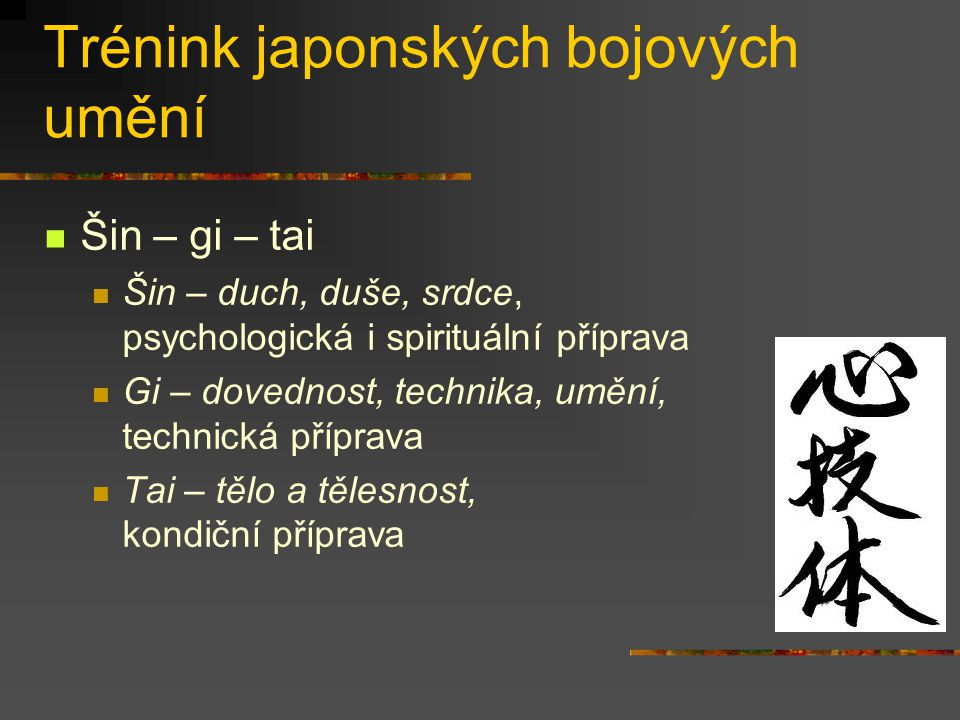 Trénink japonských bojových umění Šu-ha-ri (učit se, odvázat se, přesáhnout) Šu (chránit, naslouchat): tradované znalosti, učení se základům, bezvýhradné sledování učení Ha (rozvázání, odbočení): prolomení tradice, hledání vlastní, jiné cesty Ri (opuštění, oddělení): transcendence, dokonalost, již zde nejsou formy, techniky šu ha ri