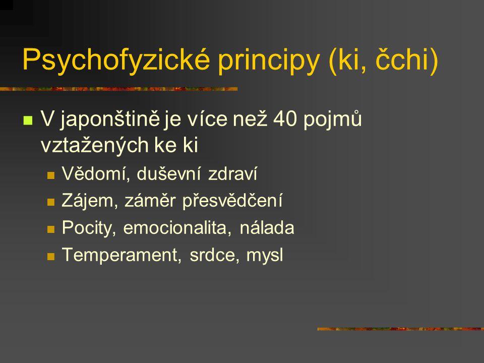 Psychofyzické principy (ki, čchi) Chápaní světa jako dynamické jednoty (hifumi) in – jó (čín.
