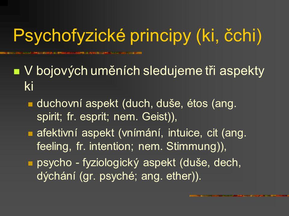 Psychofyzické principy (ki, čchi) V japonštině je více než 40 pojmů vztažených ke ki Vědomí, duševní zdraví Zájem, záměr přesvědčení Pocity, emocionalita, nálada Temperament, srdce, mysl
