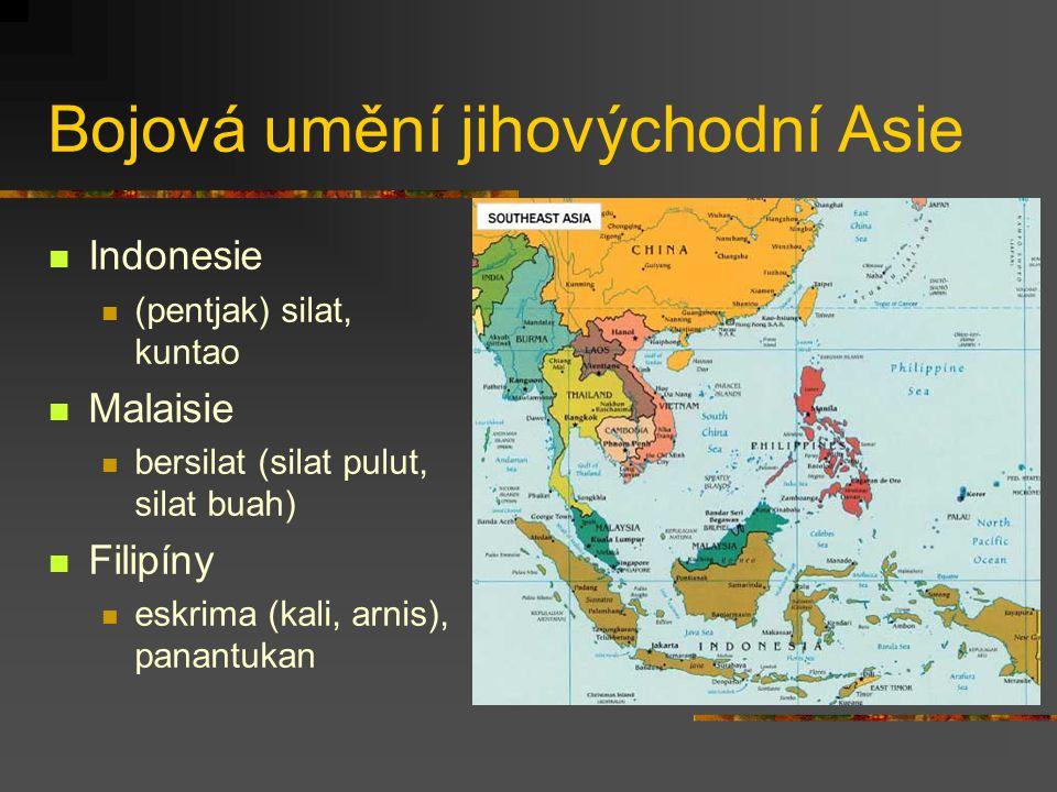 Bojová umění jihovýchodní Asie Vietnam (vo thuat) vovinam (viet vo dao) Thajsko muai thai, krabi krabong Barma bandó, banšai, letwei