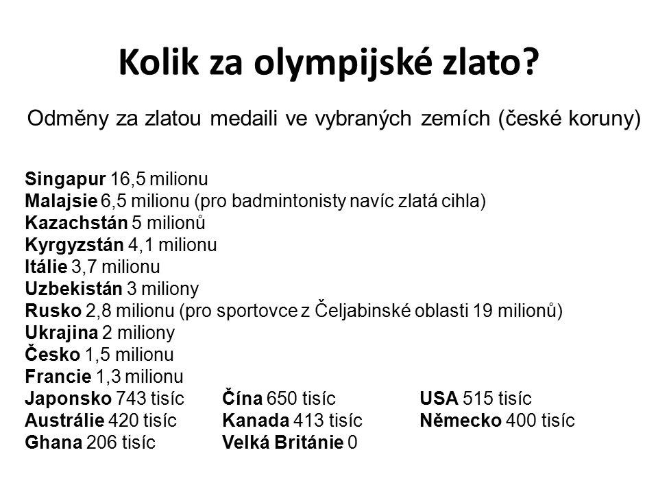 Kolik za olympijské zlato? Singapur 16,5 milionu Malajsie 6,5 milionu (pro badmintonisty navíc zlatá cihla) Kazachstán 5 milionů Kyrgyzstán 4,1 milion