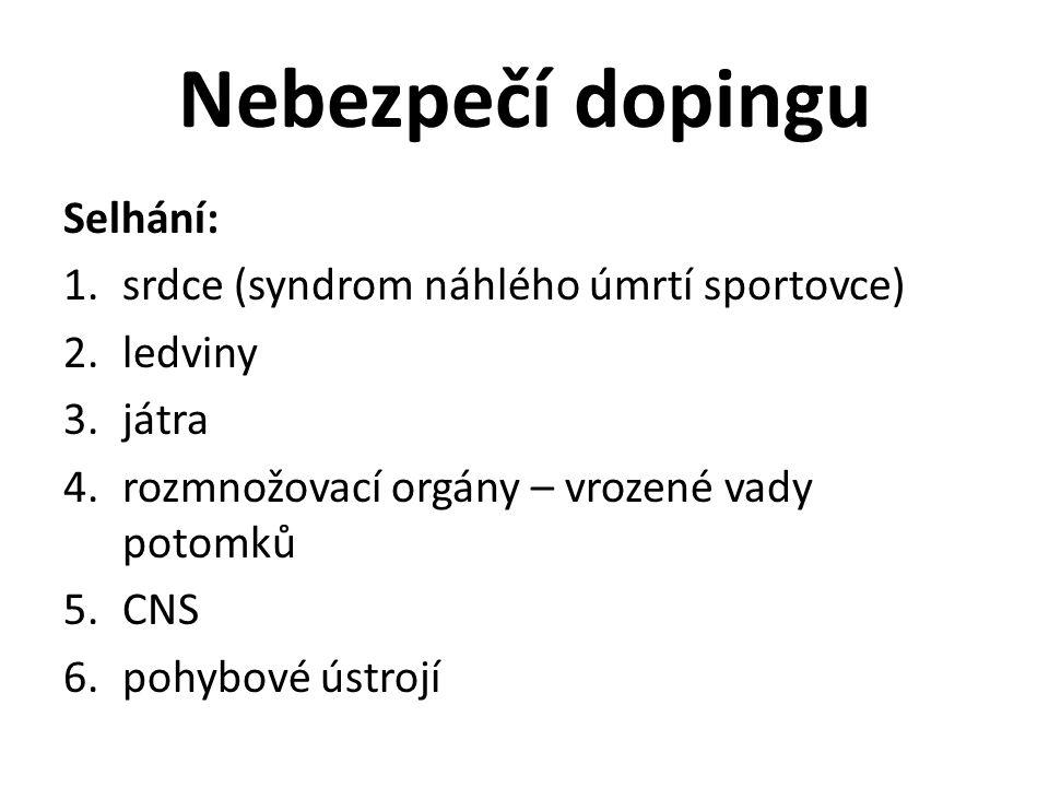 Nebezpečí dopingu Selhání: 1.srdce (syndrom náhlého úmrtí sportovce) 2.ledviny 3.játra 4.rozmnožovací orgány – vrozené vady potomků 5.CNS 6.pohybové ústrojí