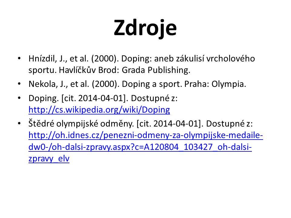 Zdroje Hnízdil, J., et al. (2000). Doping: aneb zákulisí vrcholového sportu. Havlíčkův Brod: Grada Publishing. Nekola, J., et al. (2000). Doping a spo