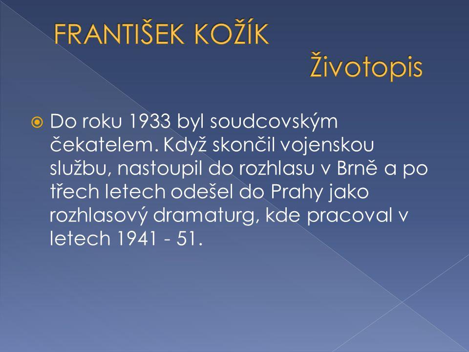  Dvě desítky let - v letech 1956 - 74 - působil František Kožík jako dramaturg Čs.