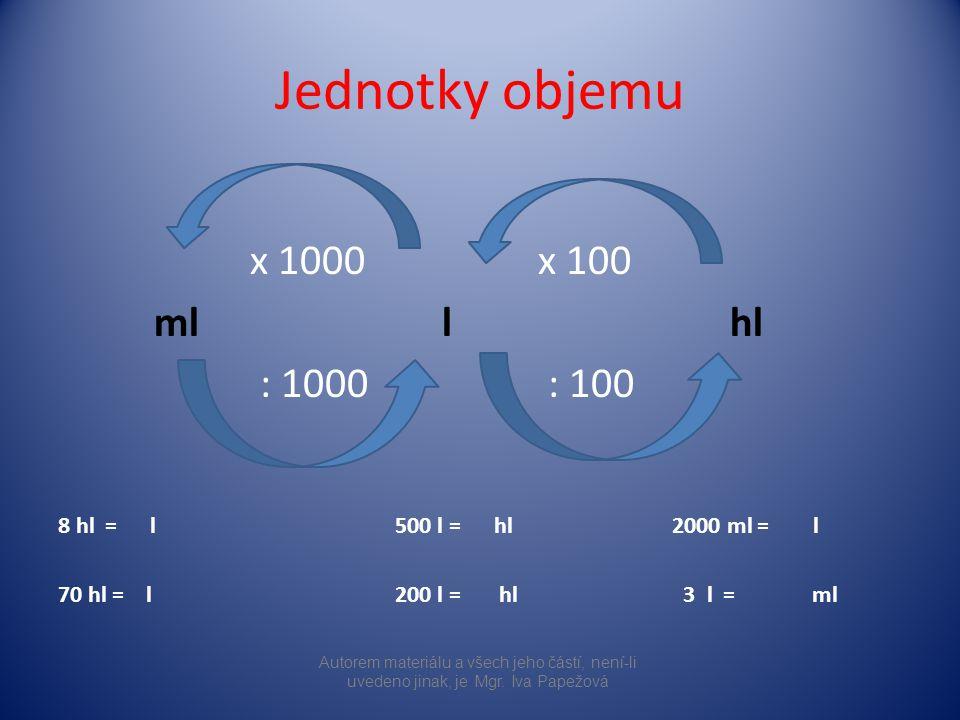Jednotky objemu x 1000 x 100 mll hl : 1000 : 100 8 hl = l 500 l = hl 2000 ml = l 70 hl = l 200 l = hl 3 l = ml Autorem materiálu a všech jeho částí, n