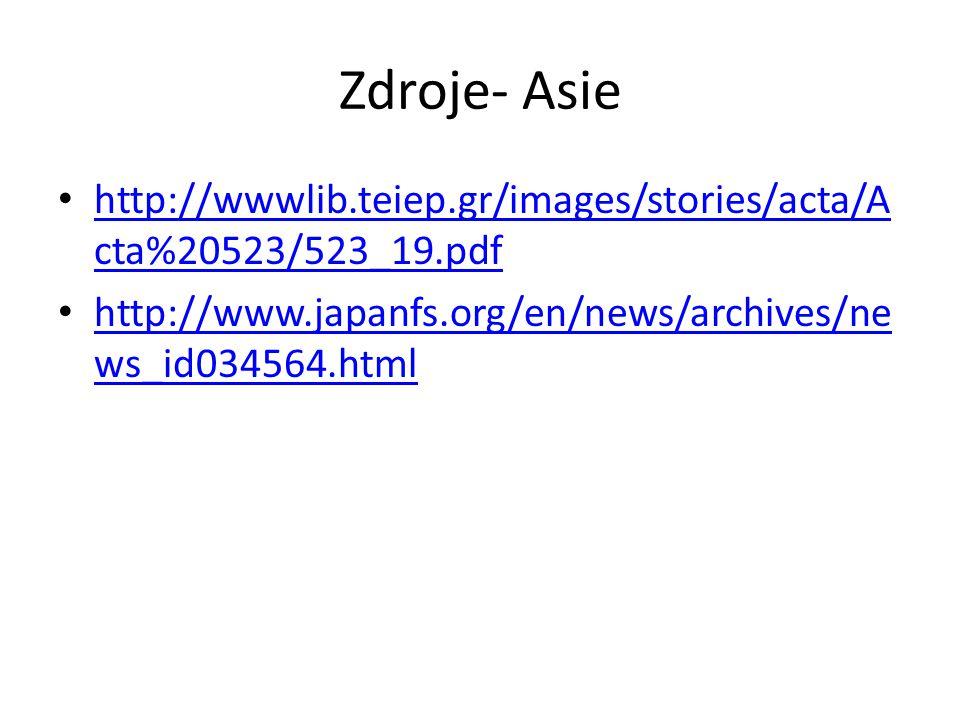Zdroje- Asie http://wwwlib.teiep.gr/images/stories/acta/A cta%20523/523_19.pdf http://wwwlib.teiep.gr/images/stories/acta/A cta%20523/523_19.pdf http://www.japanfs.org/en/news/archives/ne ws_id034564.html http://www.japanfs.org/en/news/archives/ne ws_id034564.html