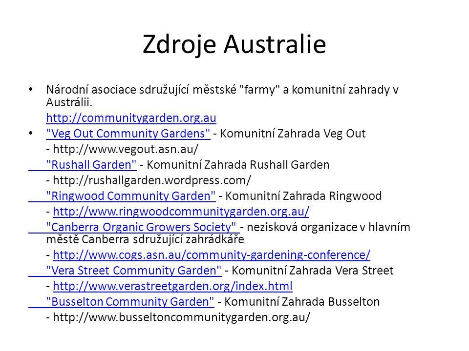 Zdroje Australie Národní asociace sdružující městské farmy a komunitní zahrady v Austrálii.
