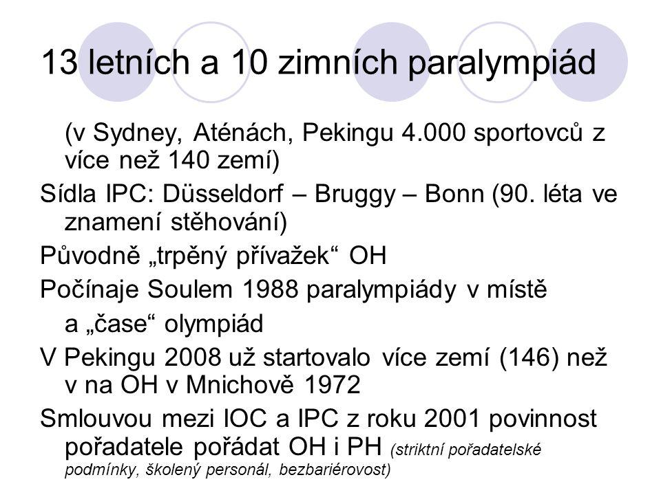 13 letních a 10 zimních paralympiád (v Sydney, Aténách, Pekingu 4.000 sportovců z více než 140 zemí) Sídla IPC: Düsseldorf – Bruggy – Bonn (90. léta v