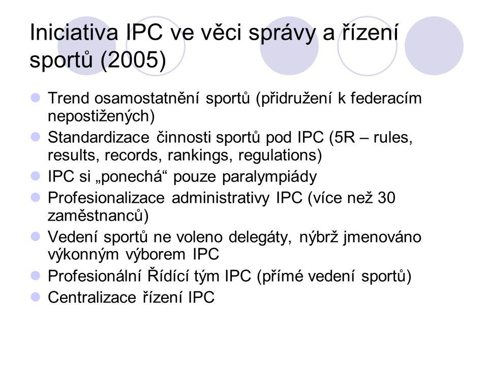 Iniciativa IPC ve věci správy a řízení sportů (2005) Trend osamostatnění sportů (přidružení k federacím nepostižených) Standardizace činnosti sportů p