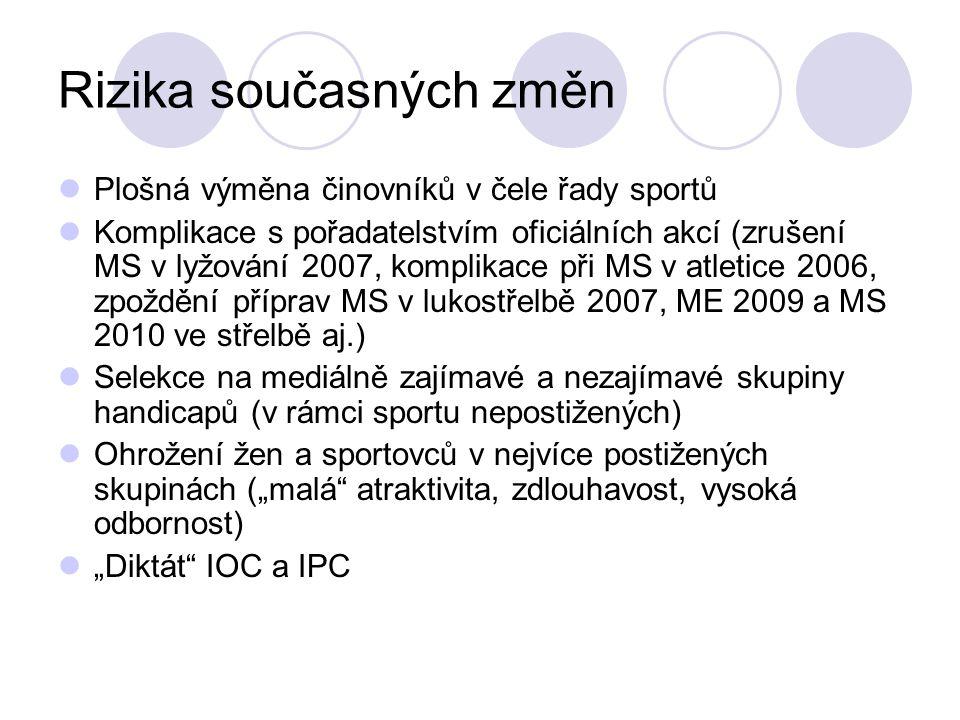 Rizika současných změn Plošná výměna činovníků v čele řady sportů Komplikace s pořadatelstvím oficiálních akcí (zrušení MS v lyžování 2007, komplikace