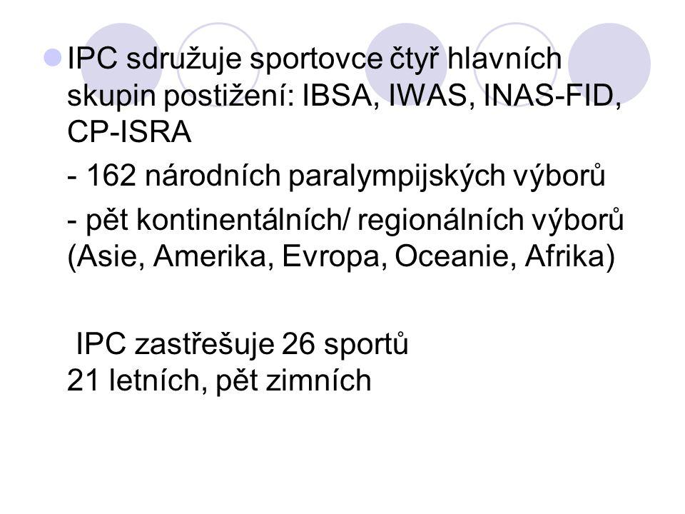 IPC sdružuje sportovce čtyř hlavních skupin postižení: IBSA, IWAS, INAS-FID, CP-ISRA - 162 národních paralympijských výborů - pět kontinentálních/ reg