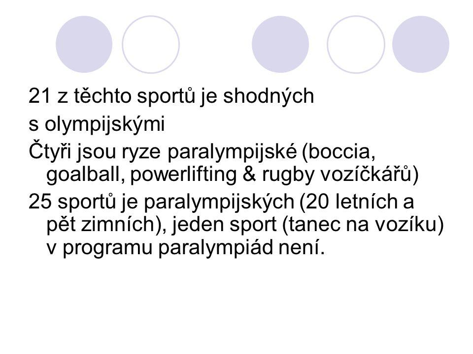 21 z těchto sportů je shodných s olympijskými Čtyři jsou ryze paralympijské (boccia, goalball, powerlifting & rugby vozíčkářů) 25 sportů je paralympij