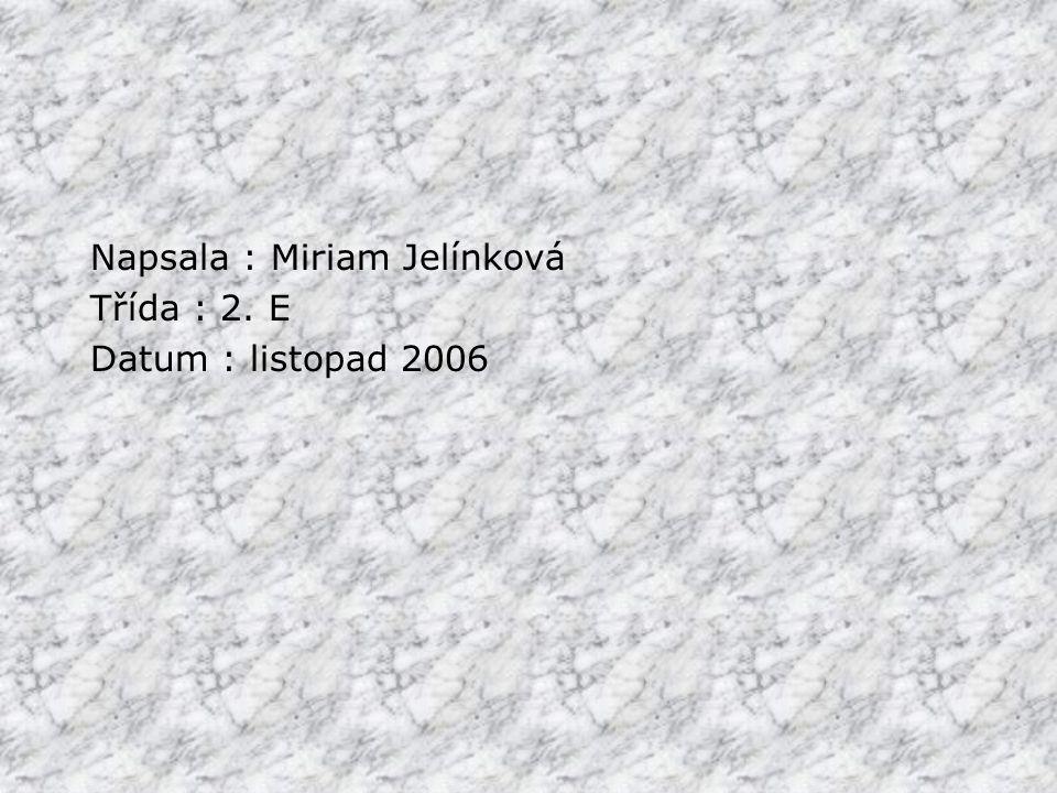 Napsala : Miriam Jelínková Třída : 2. E Datum : listopad 2006