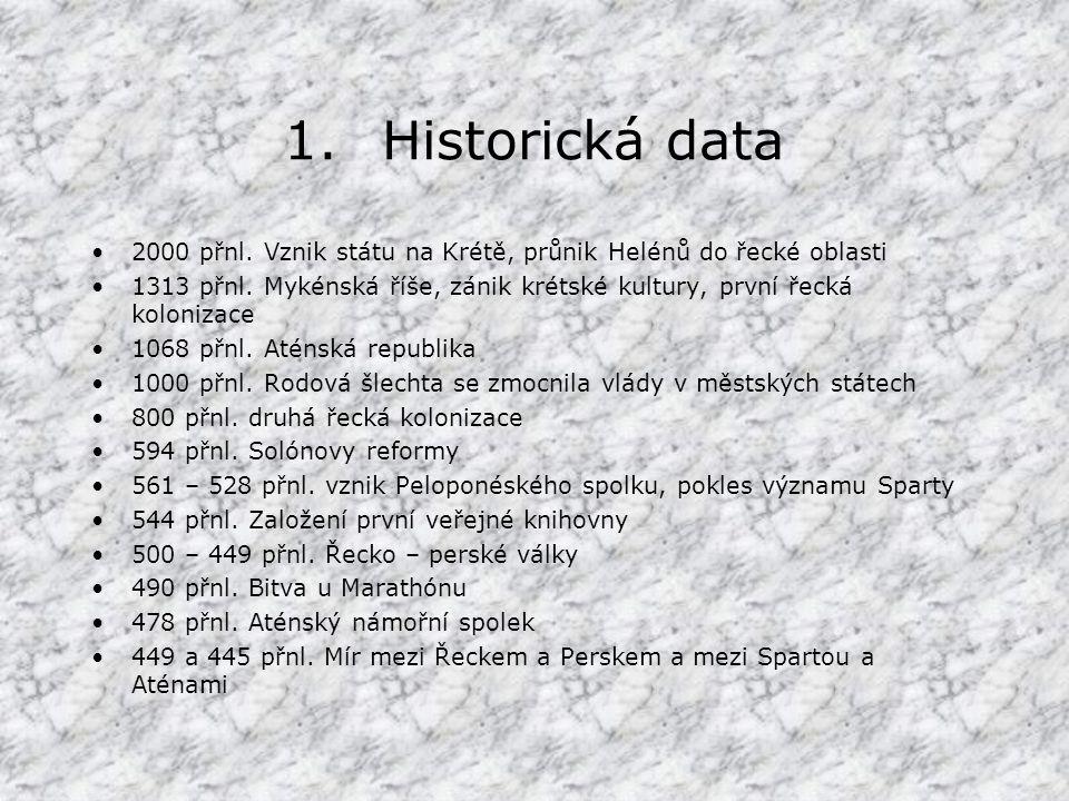1.Historická data 2000 přnl.Vznik státu na Krétě, průnik Helénů do řecké oblasti 1313 přnl.