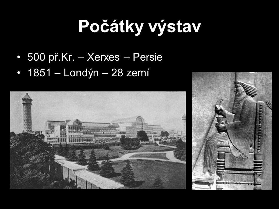 Počátky výstav 500 př.Kr. – Xerxes – Persie 1851 – Londýn – 28 zemí