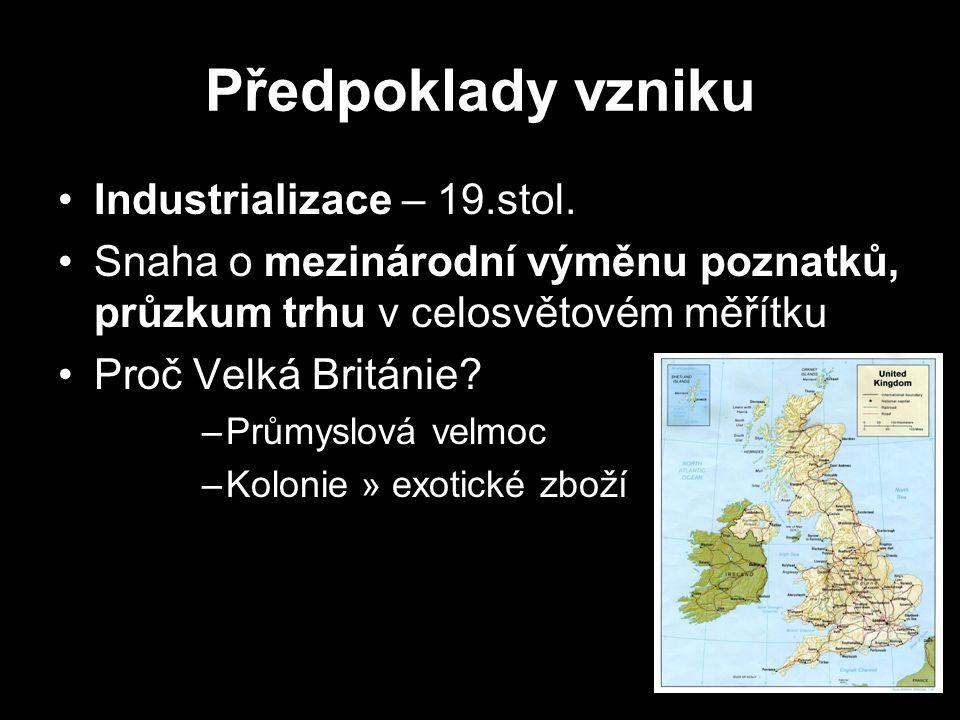 Předpoklady vzniku Industrializace – 19.stol. Snaha o mezinárodní výměnu poznatků, průzkum trhu v celosvětovém měřítku Proč Velká Británie? –Průmyslov