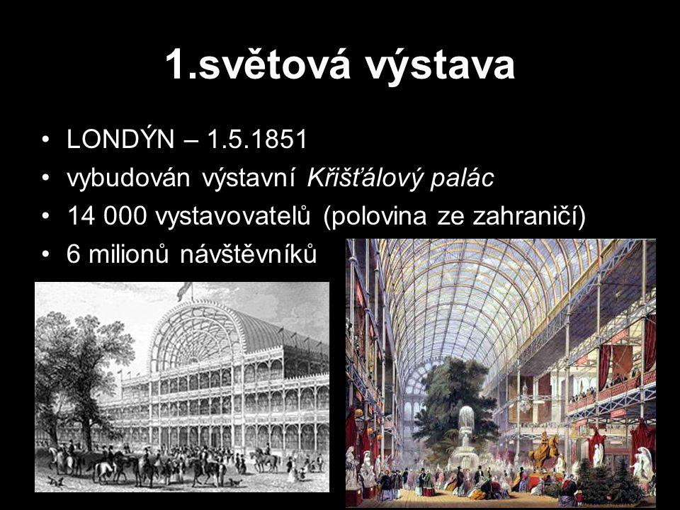 1.světová výstava LONDÝN – 1.5.1851 vybudován výstavní Křišťálový palác 14 000 vystavovatelů (polovina ze zahraničí) 6 milionů návštěvníků
