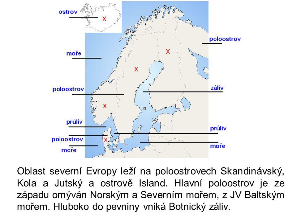 Oblast severní Evropy leží na poloostrovech Skandinávský, Kola a Jutský a ostrově Island. Hlavní poloostrov je ze západu omýván Norským a Severním moř