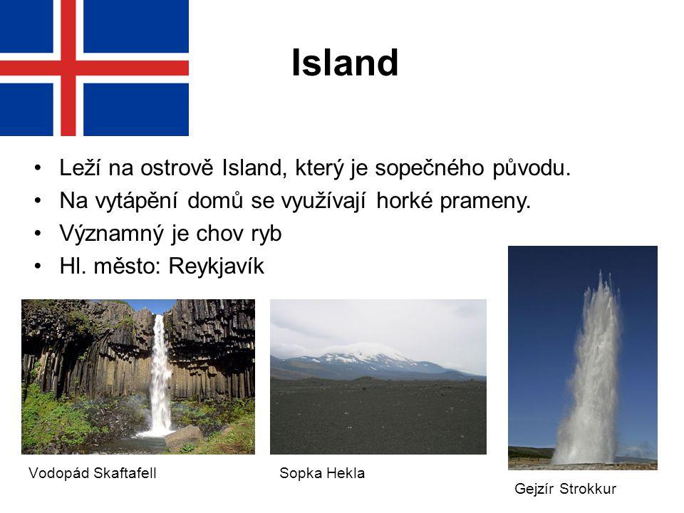 Leží na ostrově Island, který je sopečného původu. Na vytápění domů se využívají horké prameny. Významný je chov ryb Hl. město: Reykjavík Island Sopka
