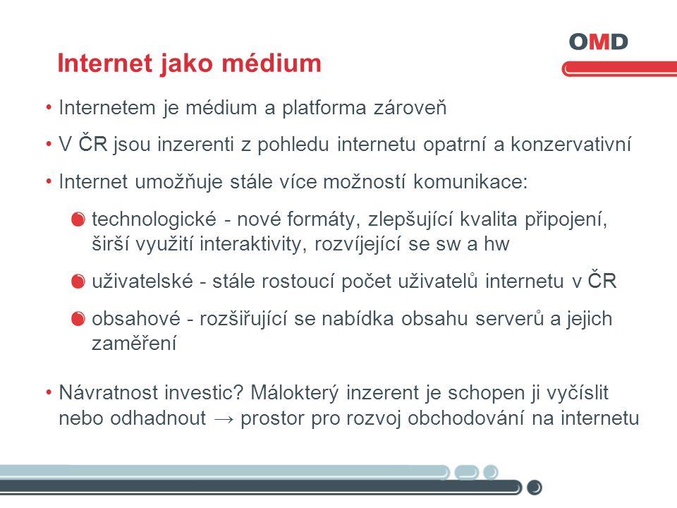 Internet jako médium Internetem je médium a platforma zároveň V ČR jsou inzerenti z pohledu internetu opatrní a konzervativní Internet umožňuje stále více možností komunikace: technologické - nové formáty, zlepšující kvalita připojení, širší využití interaktivity, rozvíjející se sw a hw uživatelské - stále rostoucí počet uživatelů internetu v ČR obsahové - rozšiřující se nabídka obsahu serverů a jejich zaměření Návratnost investic.
