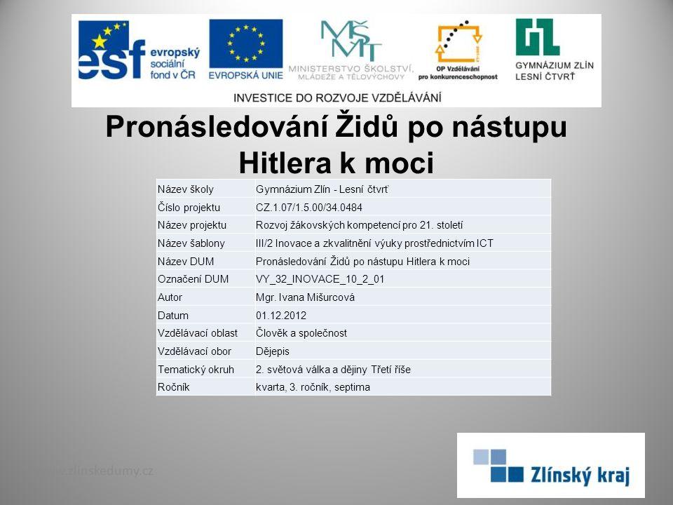 Pronásledování Židů po nástupu Hitlera k moci www.zlinskedumy.cz Název školyGymnázium Zlín - Lesní čtvrť Číslo projektuCZ.1.07/1.5.00/34.0484 Název pr