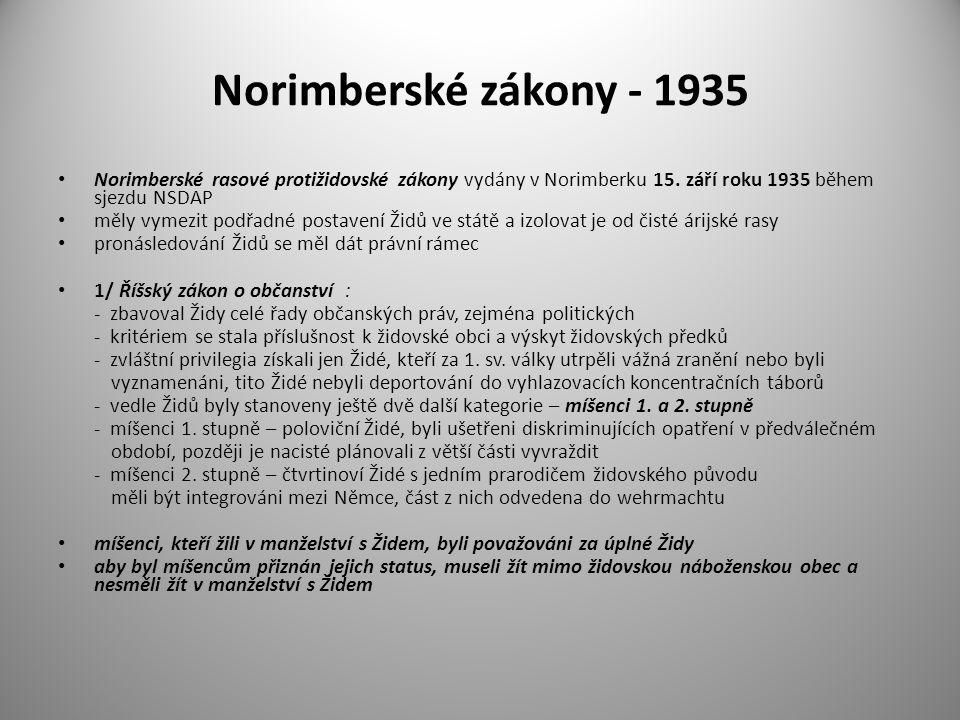 Norimberské zákony - 1935 Norimberské rasové protižidovské zákony vydány v Norimberku 15. září roku 1935 během sjezdu NSDAP měly vymezit podřadné post