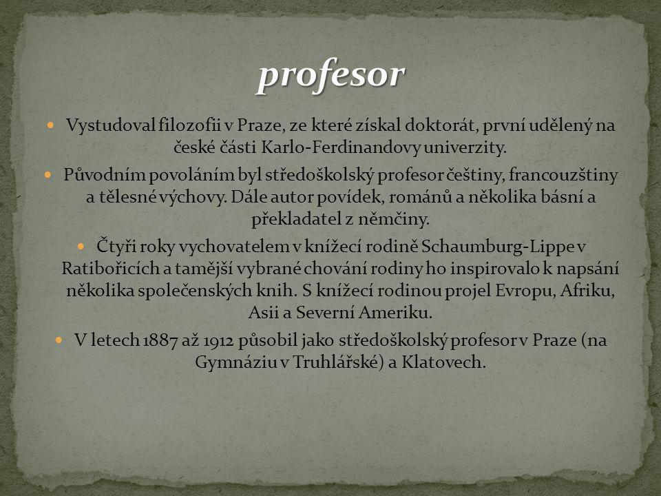 Vystudoval filozofii v Praze, ze které získal doktorát, první udělený na české části Karlo-Ferdinandovy univerzity. Původním povoláním byl středoškols