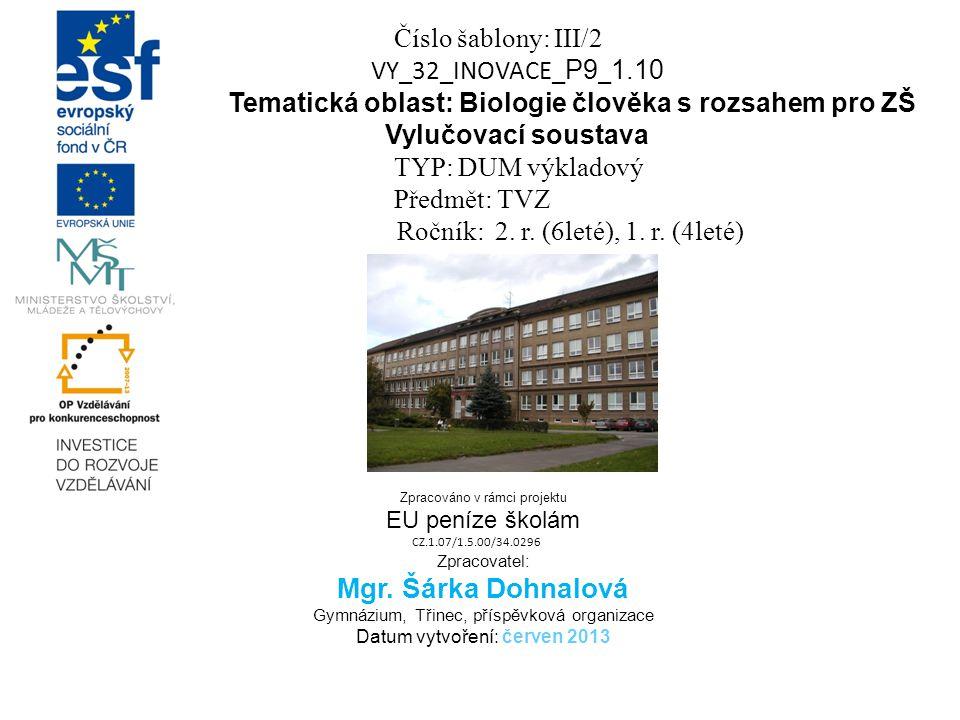 Číslo šablony: III/2 VY_32_INOVACE_ P9 _ 1.10 Tematická oblast: Biologie člověka s rozsahem pro ZŠ Vylučovací soustava TYP: DUM výkladový Předmět: TVZ