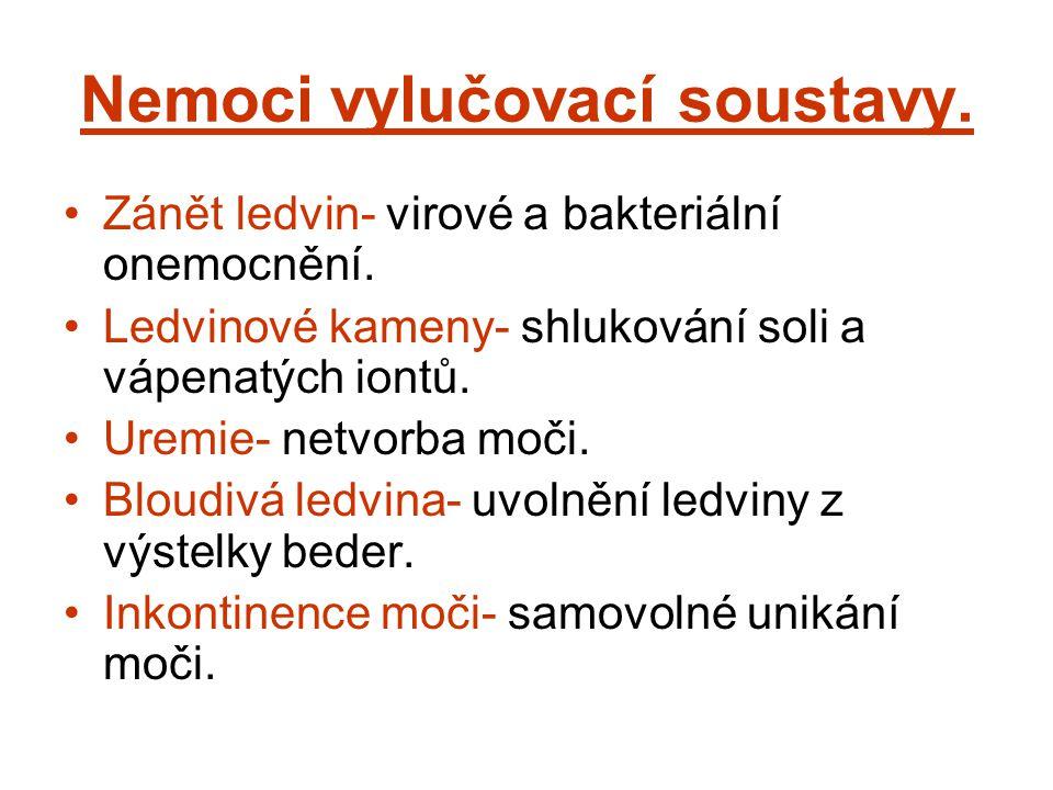 Nemoci vylučovací soustavy. Zánět ledvin- virové a bakteriální onemocnění. Ledvinové kameny- shlukování soli a vápenatých iontů. Uremie- netvorba moči